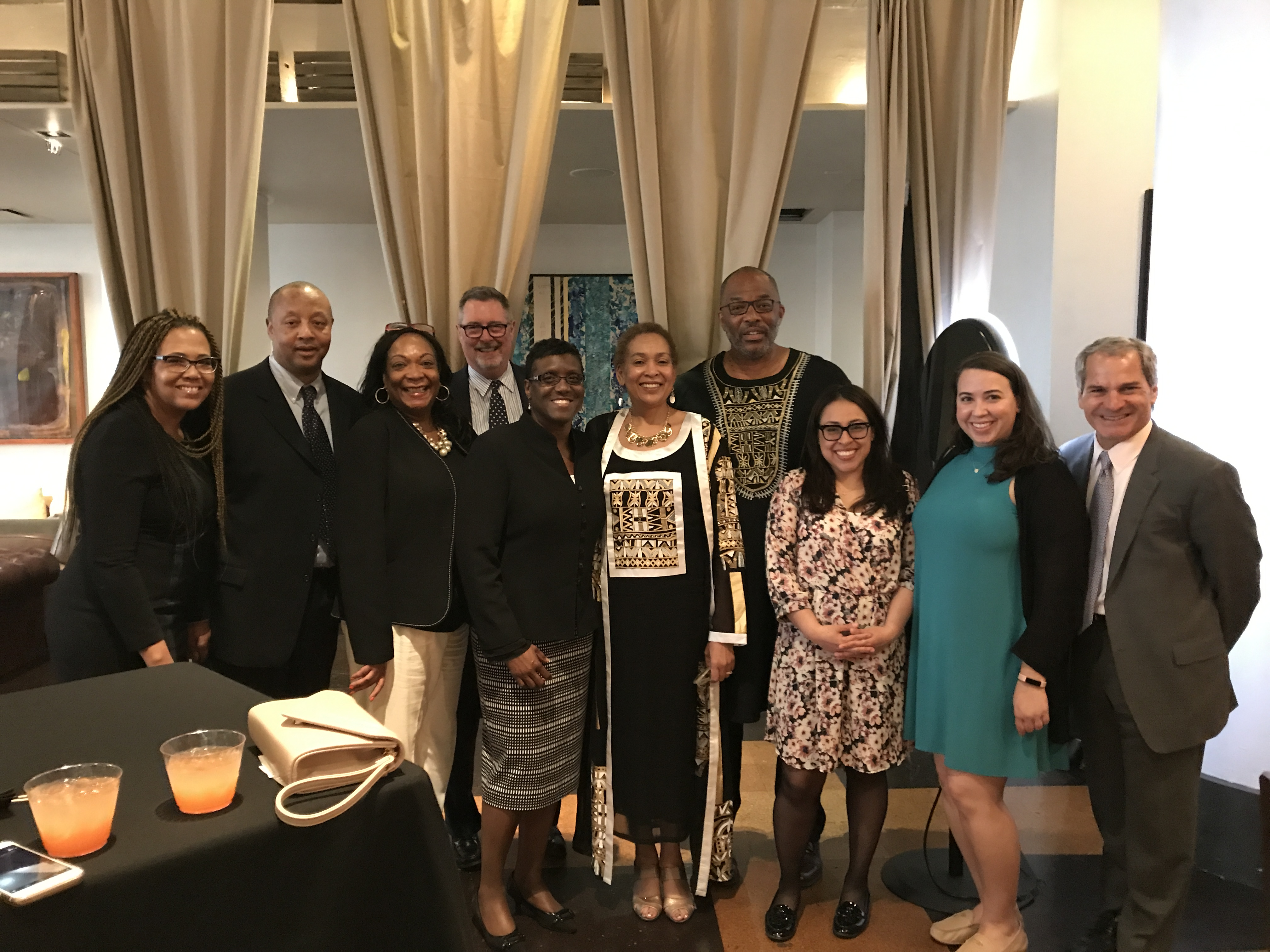 "La-Verna Fountain, Vice President for Strategic Communications and Construction Business Initiatives, next to her husband James and surrounded by colleagues when she received the Harlem Business Alliance ""Woman of Action"" award at a ceremony on May 3, 2017."