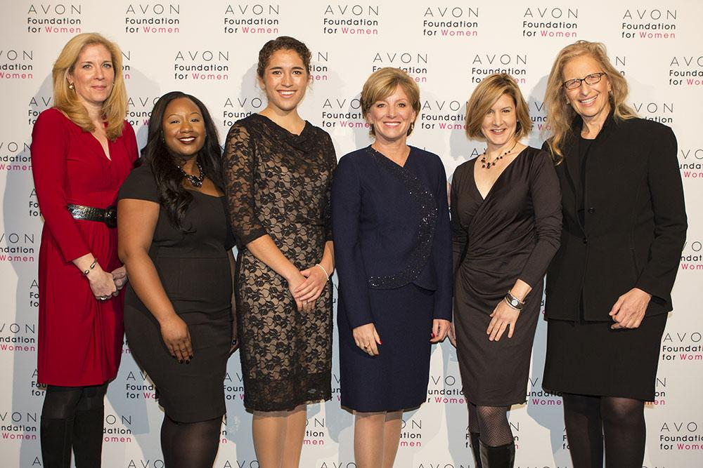 Executive Director of Student Health and Wellness Programs MJ Murphy, SVR & Rape Crisis/Anti-Violence Support Center Director La'Shawn Rivera, and Evangeline Delgado '15 joined by Avon CEO Sheri McCoy, Avon Foundation's Christine Jaworsky and renowned American portrait photographer Annie Leibovitz. (Photo credit: Avon Foundation)