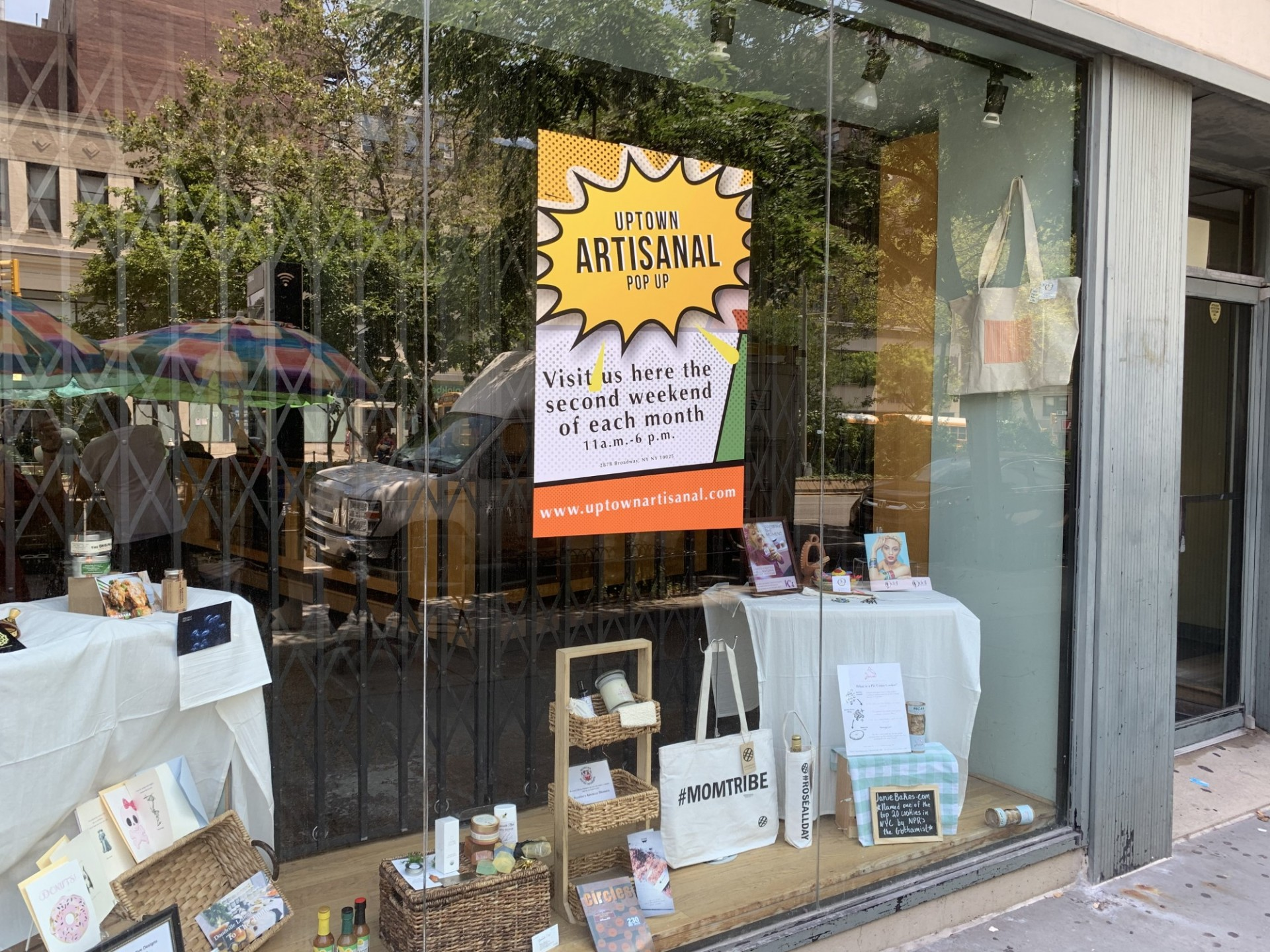Window display for pop-up market
