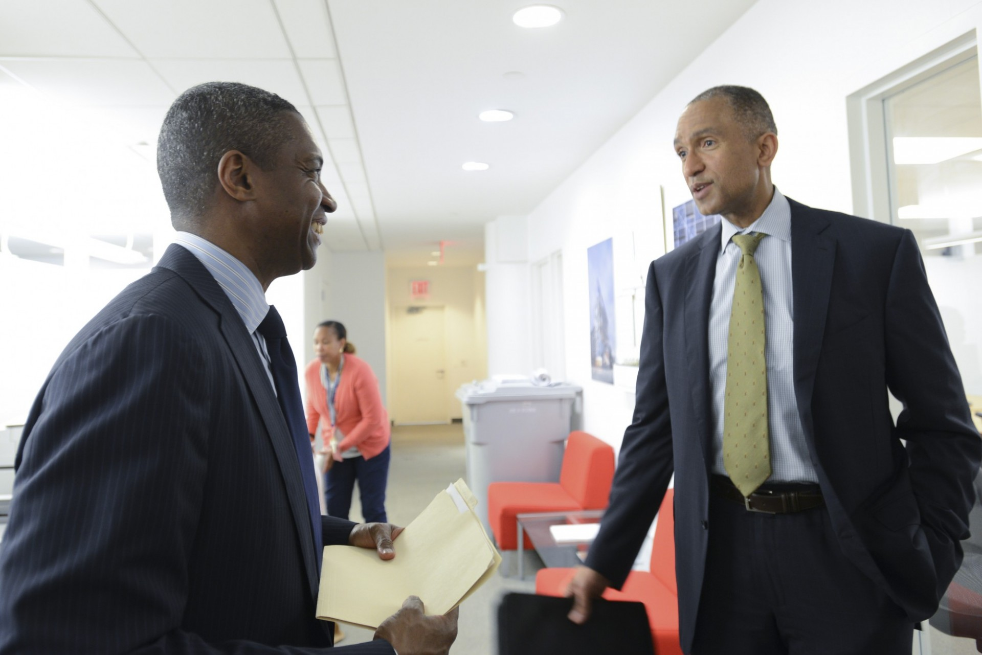 Gerrard Bushell, president and CEO of DASNY (left), speaking with Colin Redhead, deputy treasurer of Columbia University, during a recent tour of Columbia's new Manhattanville campus. (Photo credit: DASNY)