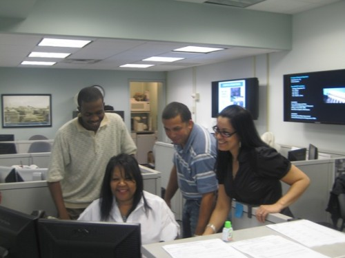 Facilities Services Center Coordinators Paris Renaud, Juliette Hutchinson and Eric Nieves and Supervisor Wanda Roman are on the front lines with clients every day.