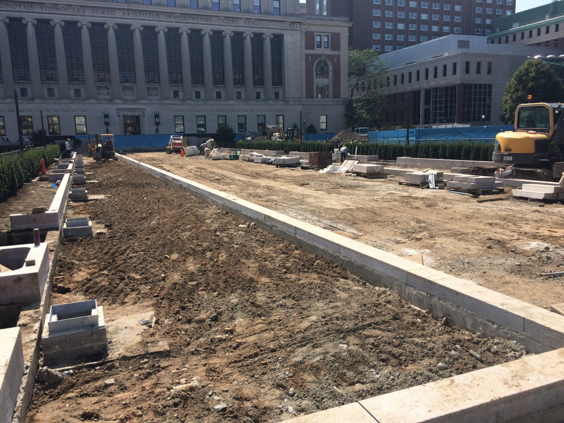 Granite curbs framing out the spaces between Butler Lawn and its east and west pathways (Photo from September 11, 2017)