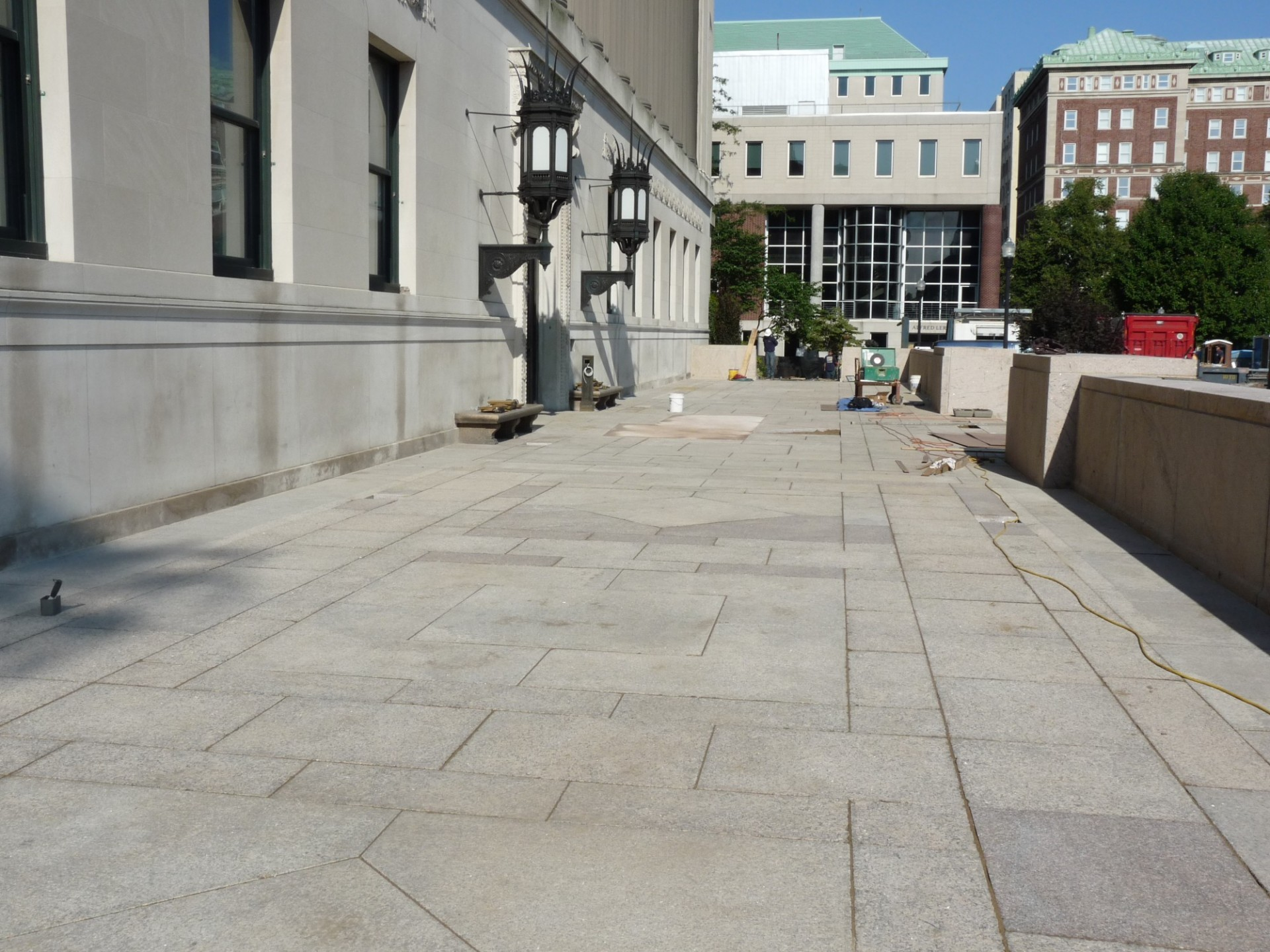 Butler Plaza granite pavers have been placed, readying for final touches and clean-up for the reopening of Butler Library's main entrance on Sept. 5. (Photo from August 31, 2017)