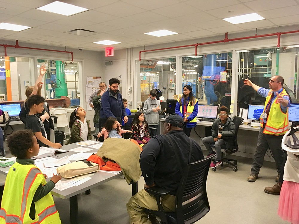 The children received a tour of the control room of the Central Energy Plant that provides chilled water, high-pressure steam, and electricity for Columbia's Manhattanville campus.