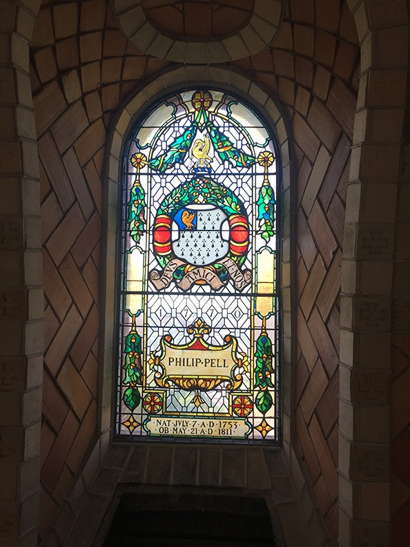 Stained glass windows have been installed in the dome of the Chapel.
