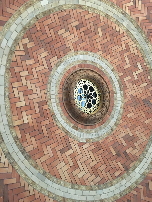 Guastavino tiles in the interior dome ceiling of St. Paul's Chapel.