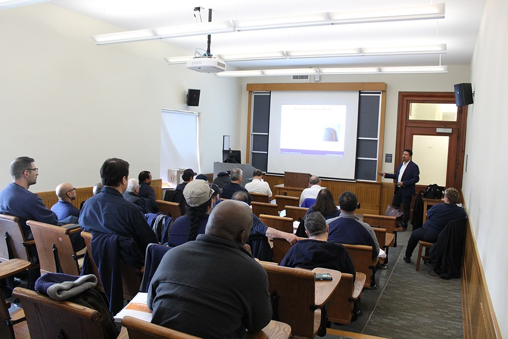 Columbia University superintendents receiving OSHA training in a classroom