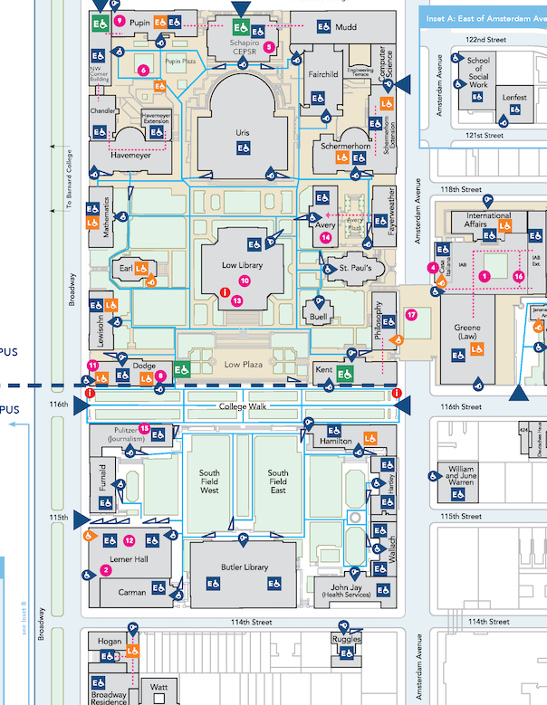 Columbia University Morningside Campus Disability Access Map