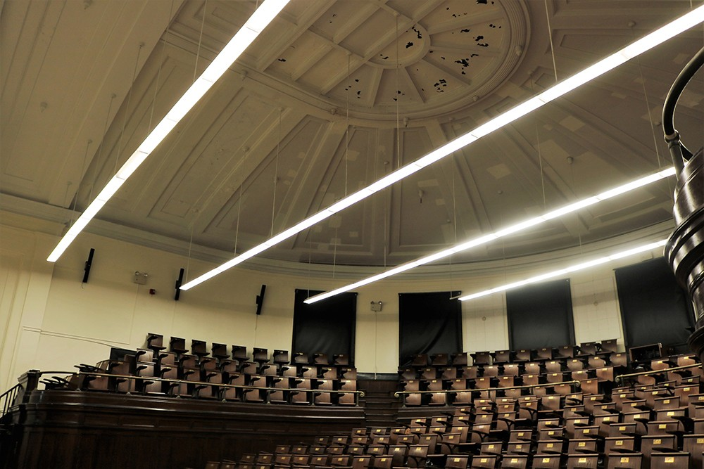Havemeyer 309, an iconic lecture hall featured in several Hollywood films, benefited from new LED lights and a podium restoration during winter break.