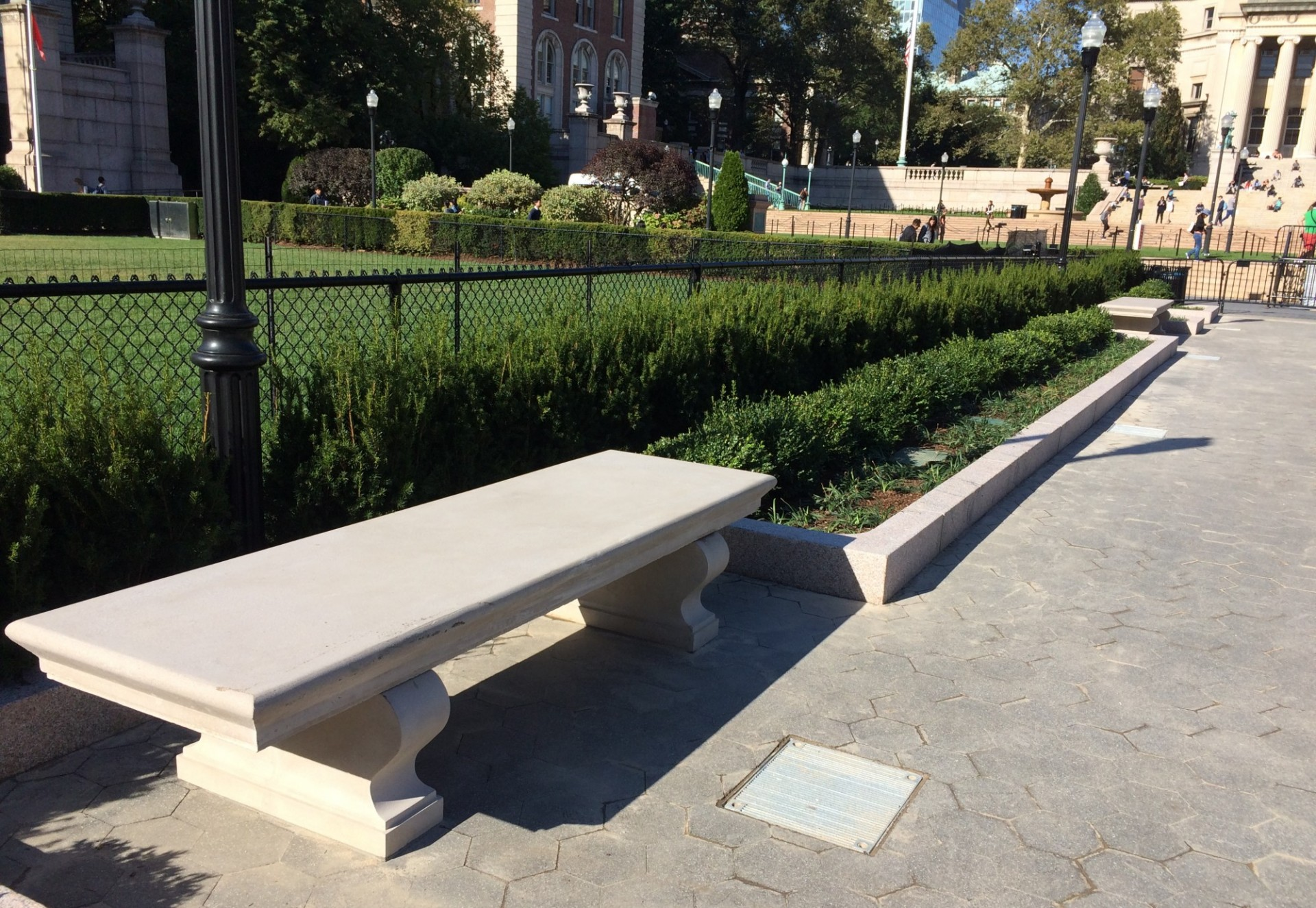 One of eight new benches installed along the perimeter of Butler Lawn (Photograph from October 3, 2017)