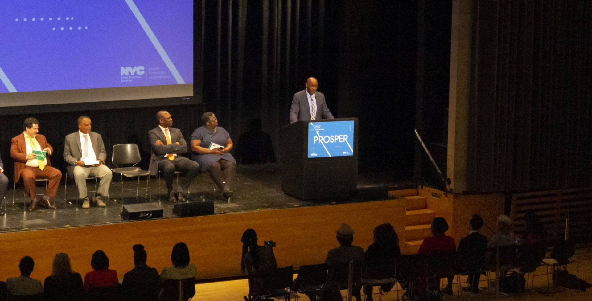 Cedric Gaddy, CUFO AVP for Capital Finance and Administrative Support, spoke to a full room at Lerner Hall for the NYC SBS Annual Procurement Fair.