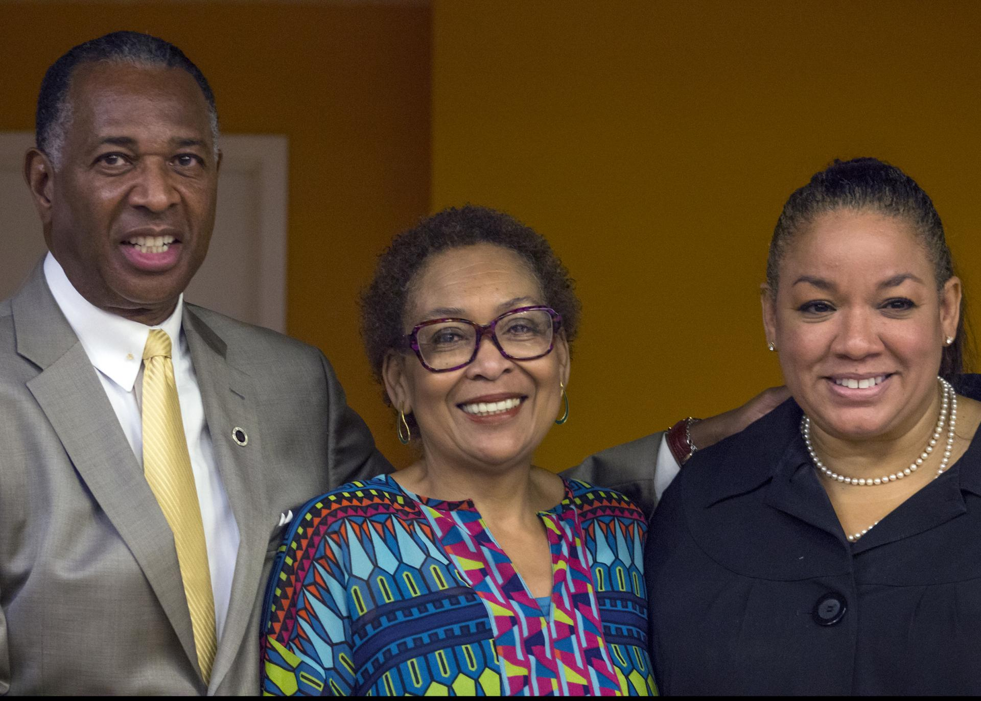 La-Verna Fountain (center) with Rev. Jacques DeGraff (left) and Kimberly Hardy (right), a deputy commissioner at NYC's Small Business Services, at the Greater Harlem Chamber of Commerce's 2017 NYC Economic Development Day