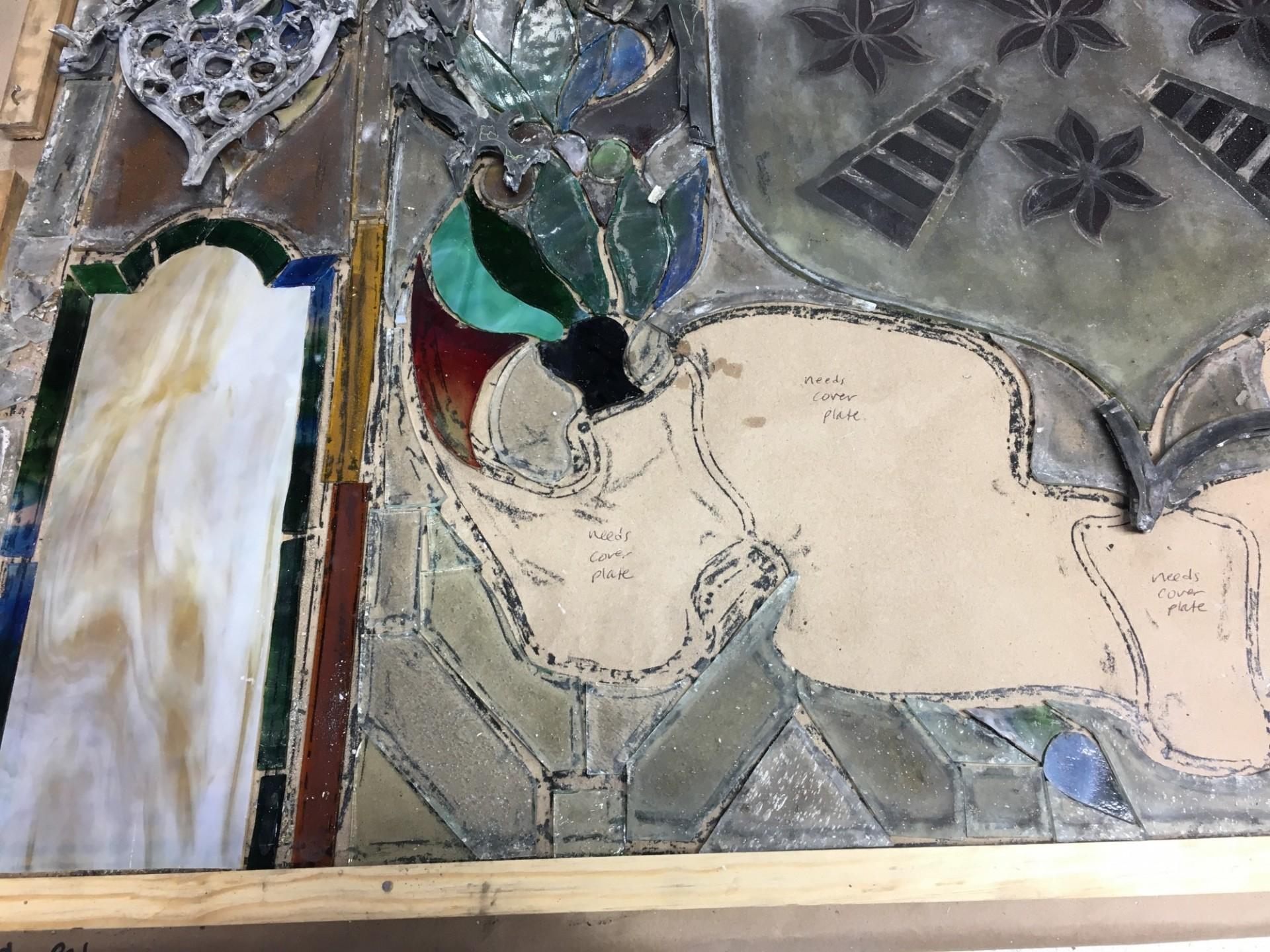 The stained-glass windows from the dome have traveled to a restoration studio for cleaning and repairs.