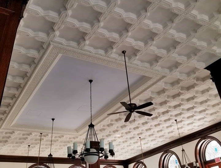 The historic ceiling above John Jay Dining Hall was replaced and restored after it was damaged by a leak.