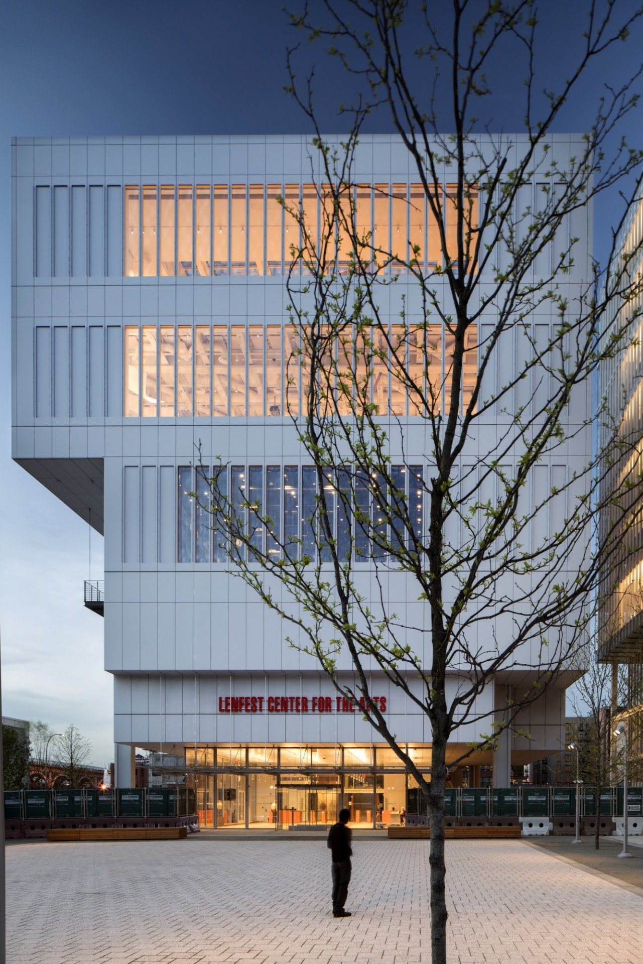 The Lenfest Center for the Arts at Columbia's Manhattanville campus. Both the Jerome L. Greene Science Center and Lenfest Center for the Arts have been awarded LEED Gold certifications for new construction. (Photo: (c) Nic Lehoux)