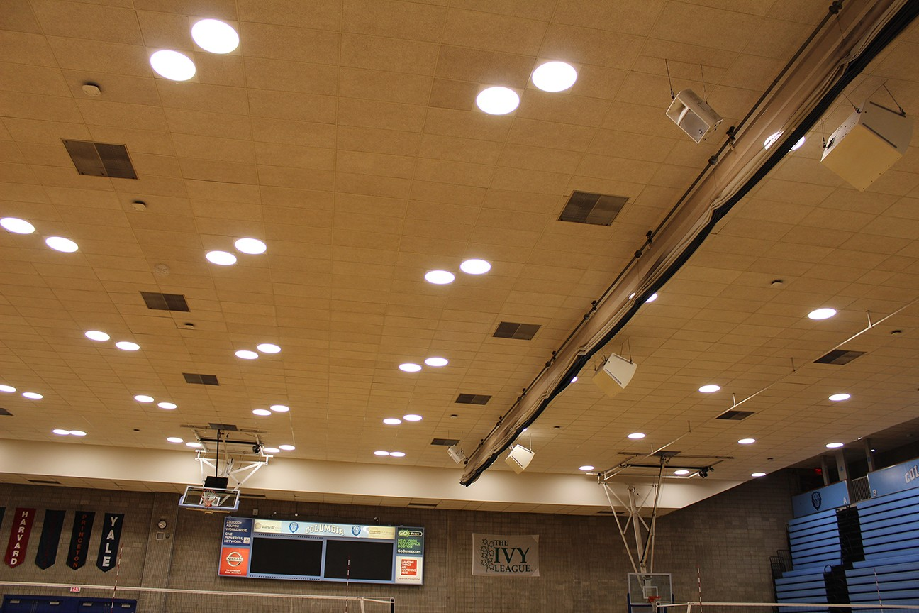New energy efficient LED light fixtures were installed in Levien Gym which can be adjusted instantly and can be programmed to create various lighting scenes on the courts.