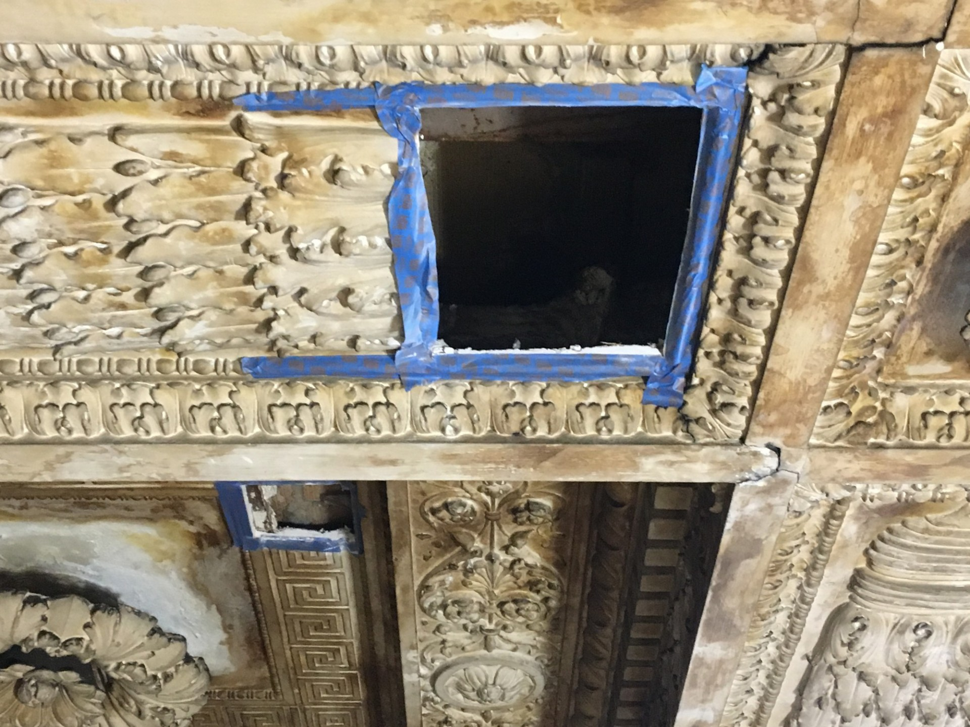 Creating probes to investigate conditions within the plaster ceiling required precise cuts to prevent damage to the ornate ceiling.