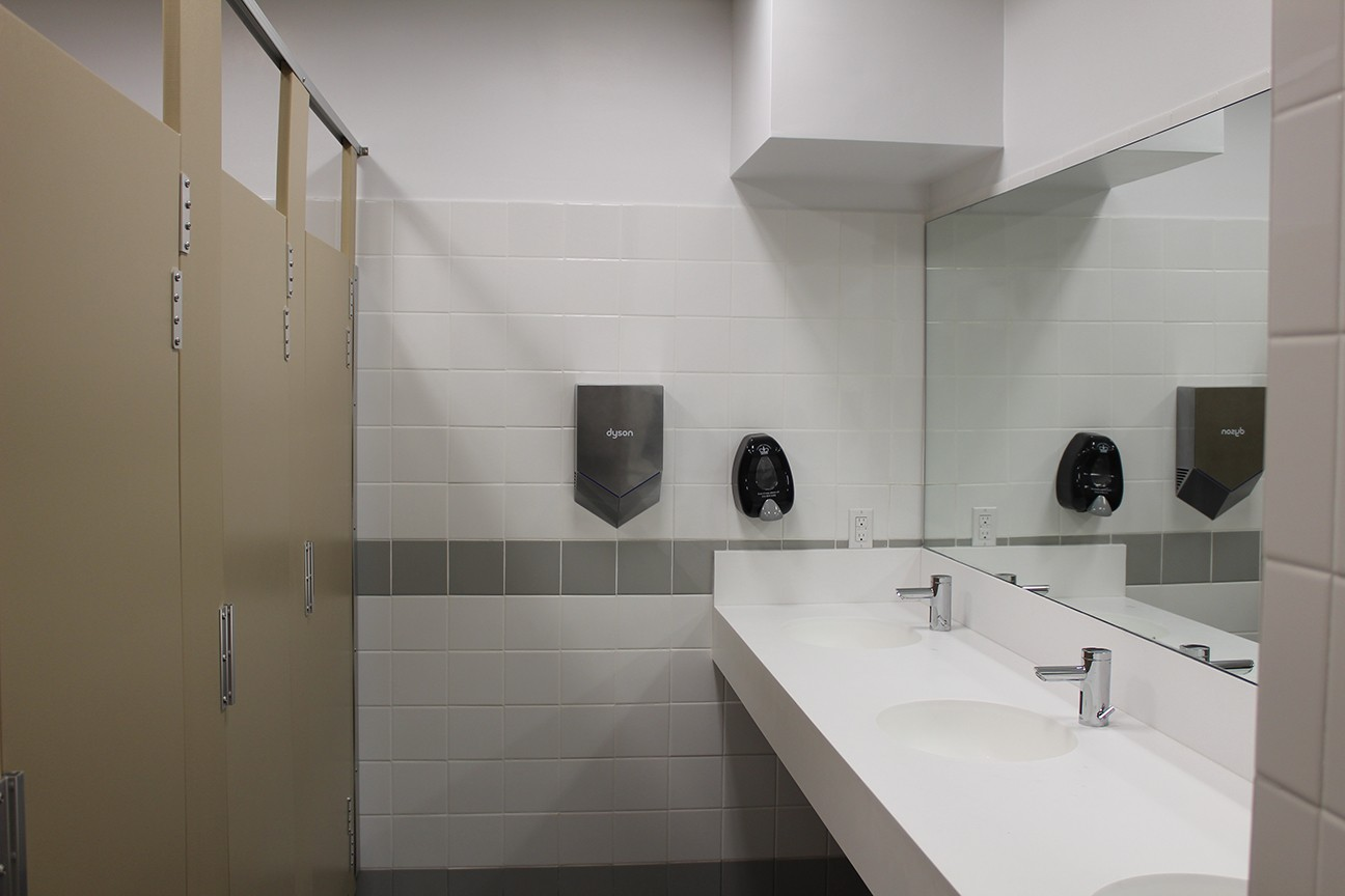 A restroom in Mathematics that was renovated over the summer as part of the ongoing restroom enhancement initiative.