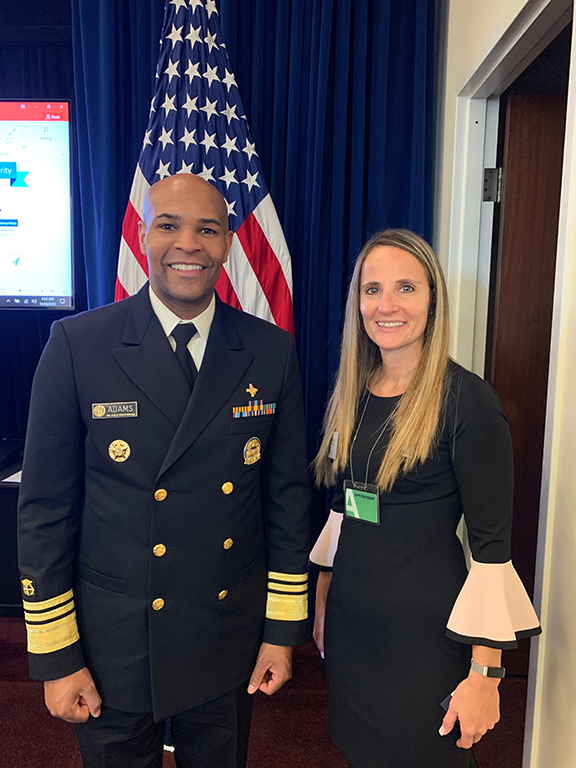 Dr. Jerome Adams, United States Surgeon General, and Dr. Melanie Bernitz, Columbia Health