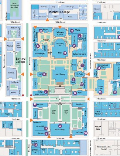 Map of gender-neutral restrooms on the Morningside Campus