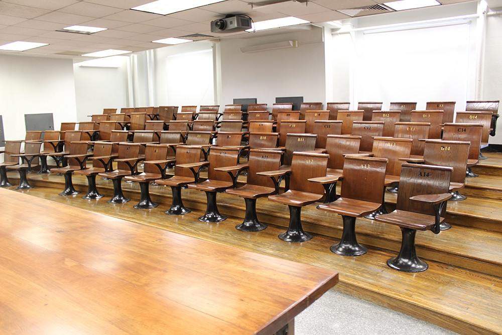Several improvements took place at Pupin Hall during winter break, including the refinishing of the podium, wood floors, and chairs in the lecture hall 329.