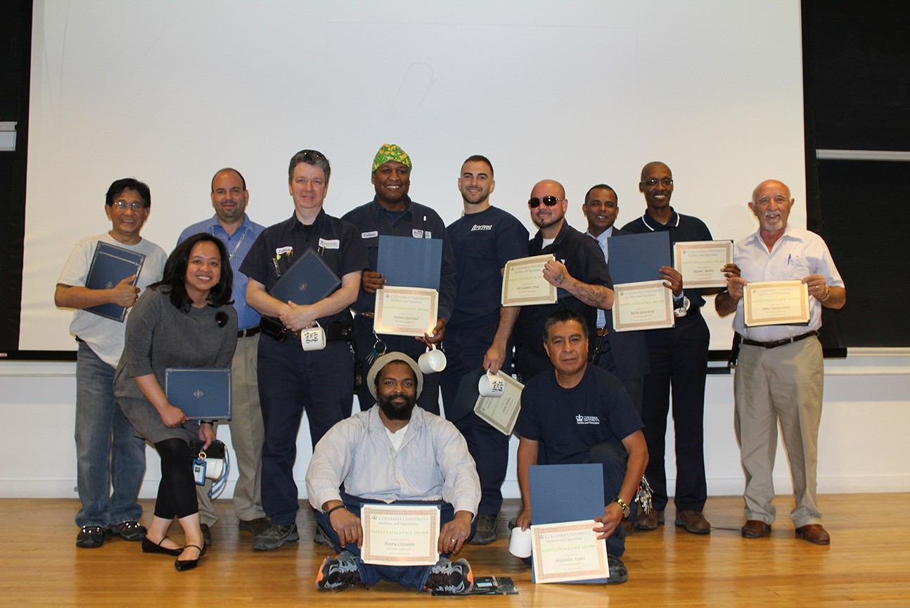 Honorees at the Safety Excellence Awards Ceremony at the Morningside Campus