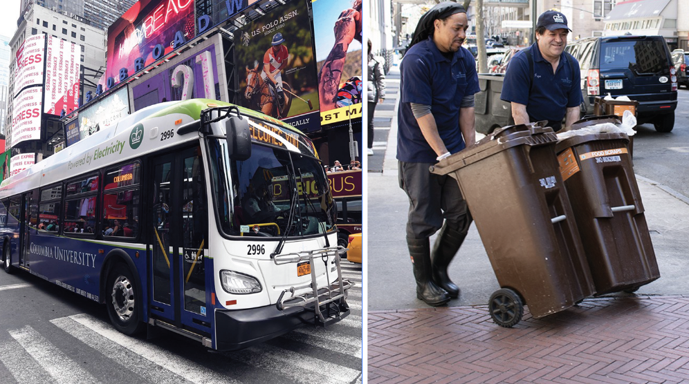 Electric bus in Times Square and Dining employees with compost bins