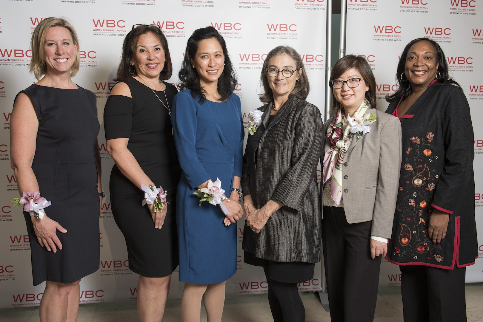 """Outstanding Women in Construction"" from Columbia University Facilities and Operations and Columbia University Medical Center Facilities Management, as honored by the Women Builders Council (l to r): Karri Rivera, Diana Mejia, Geraldine Tan, Janet Grapengeter, Kim Chen, and Tanya Pope."