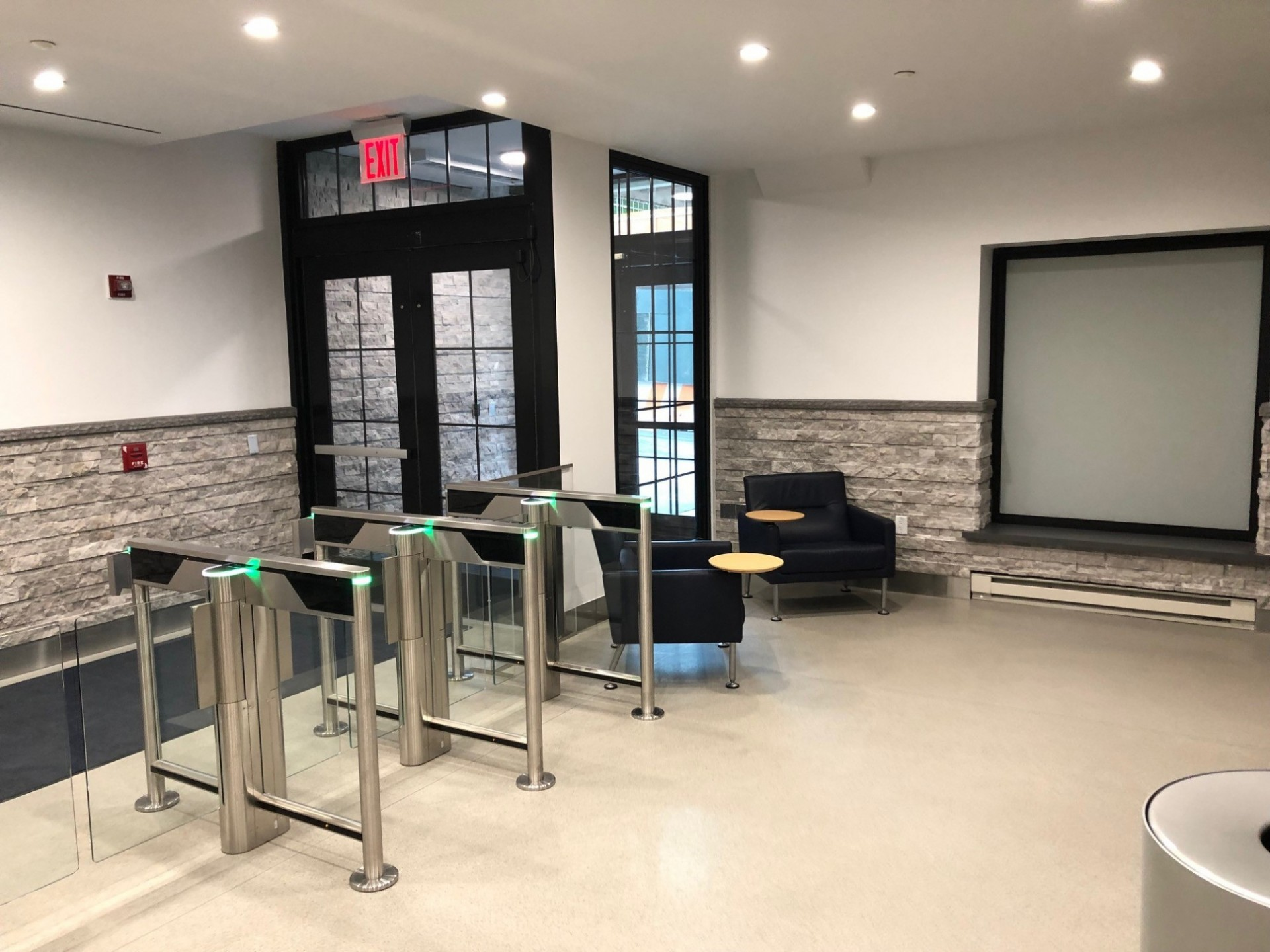 Turnstiles were installed at the lobby entrance, similar to what is in place at other Columbia buildings in Manhattanville.
