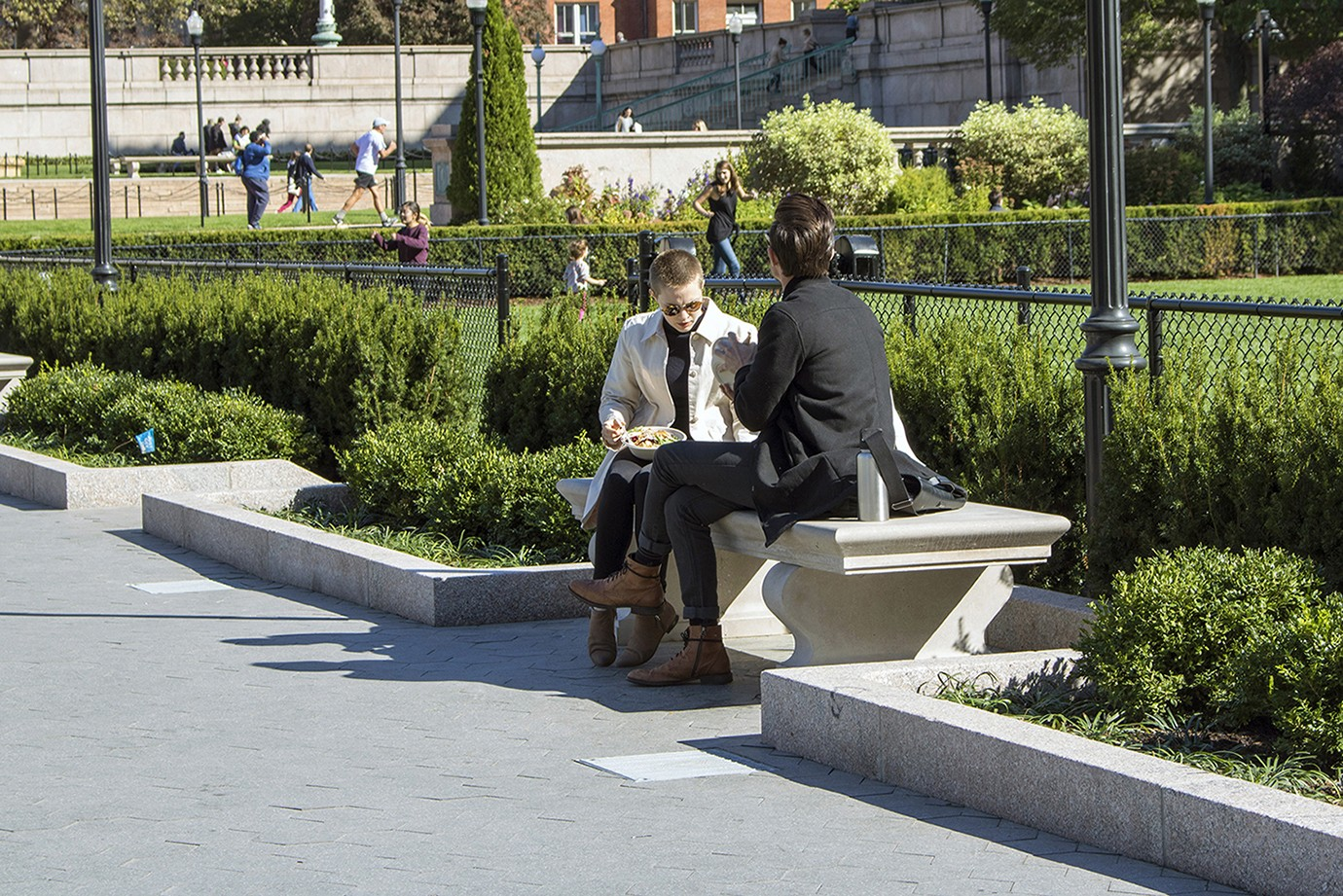 Improvements to the campus environment include new benches near the Butler lawns.