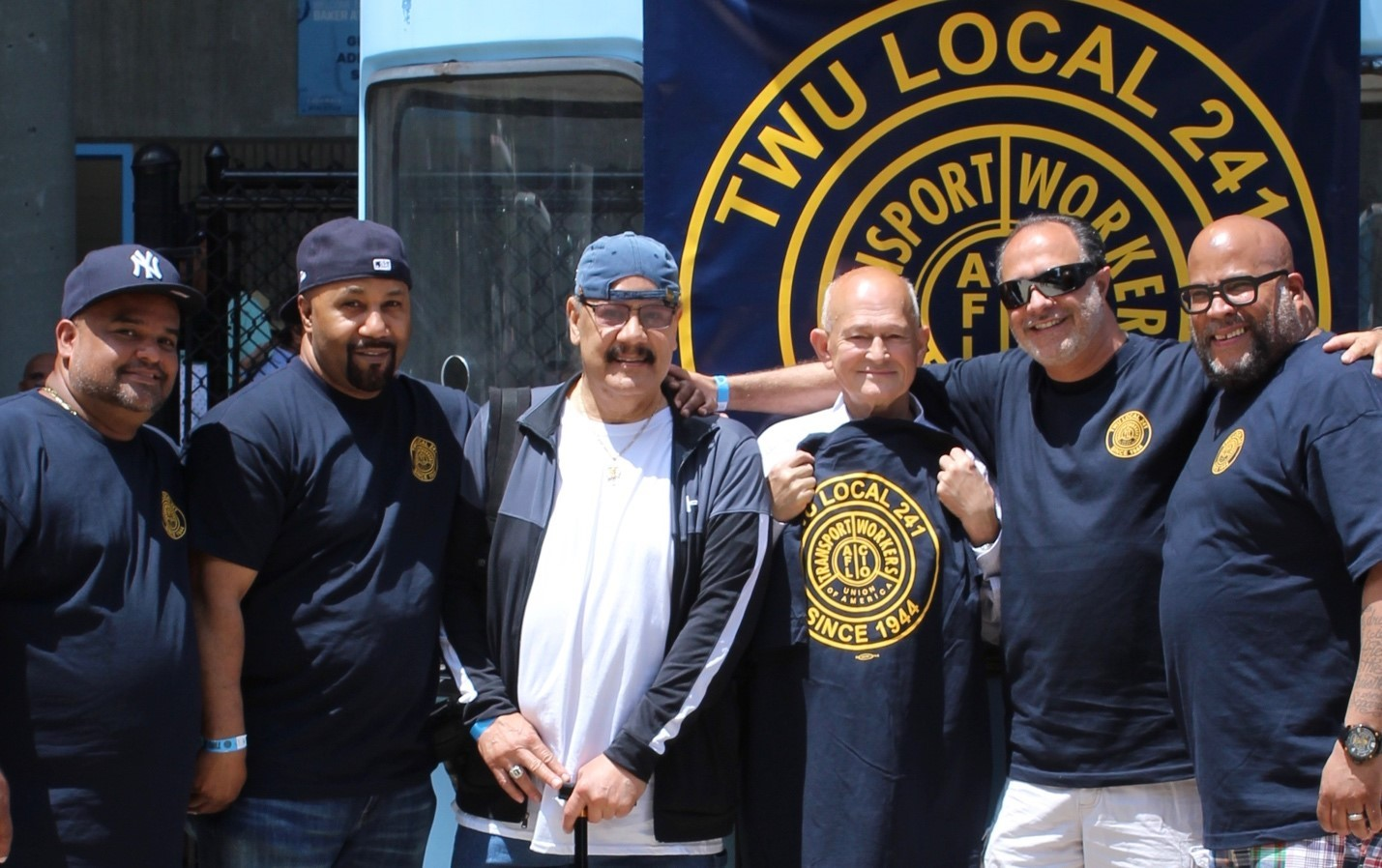TWU Local 241 leadership and long-term members share a moment at the 75th Anniversary celebration June 22 at Baker Athletics Complex. From left: Alex Molina, President; Scotty Morris, Vice President; Cedilio Maldonado, CUIMC Mechanic A, who started at Columbia in December 1974; Tanveer Iqbal, Manhattanville Public Safety Officer, who started in November 1974, Dino Centrone, Treasurer; and Raymond Torres, Recording Secretary.