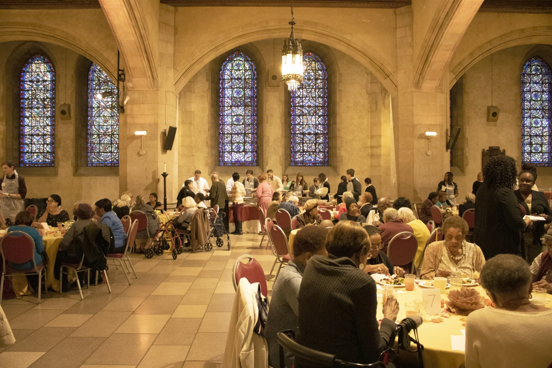 A Thanksgiving luncheon for senior citizens held inside Riverside Church