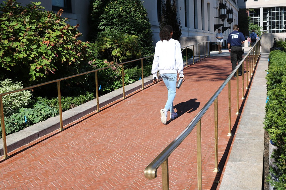 Accessibility upgrades include new sloping pathways around Butler Library.