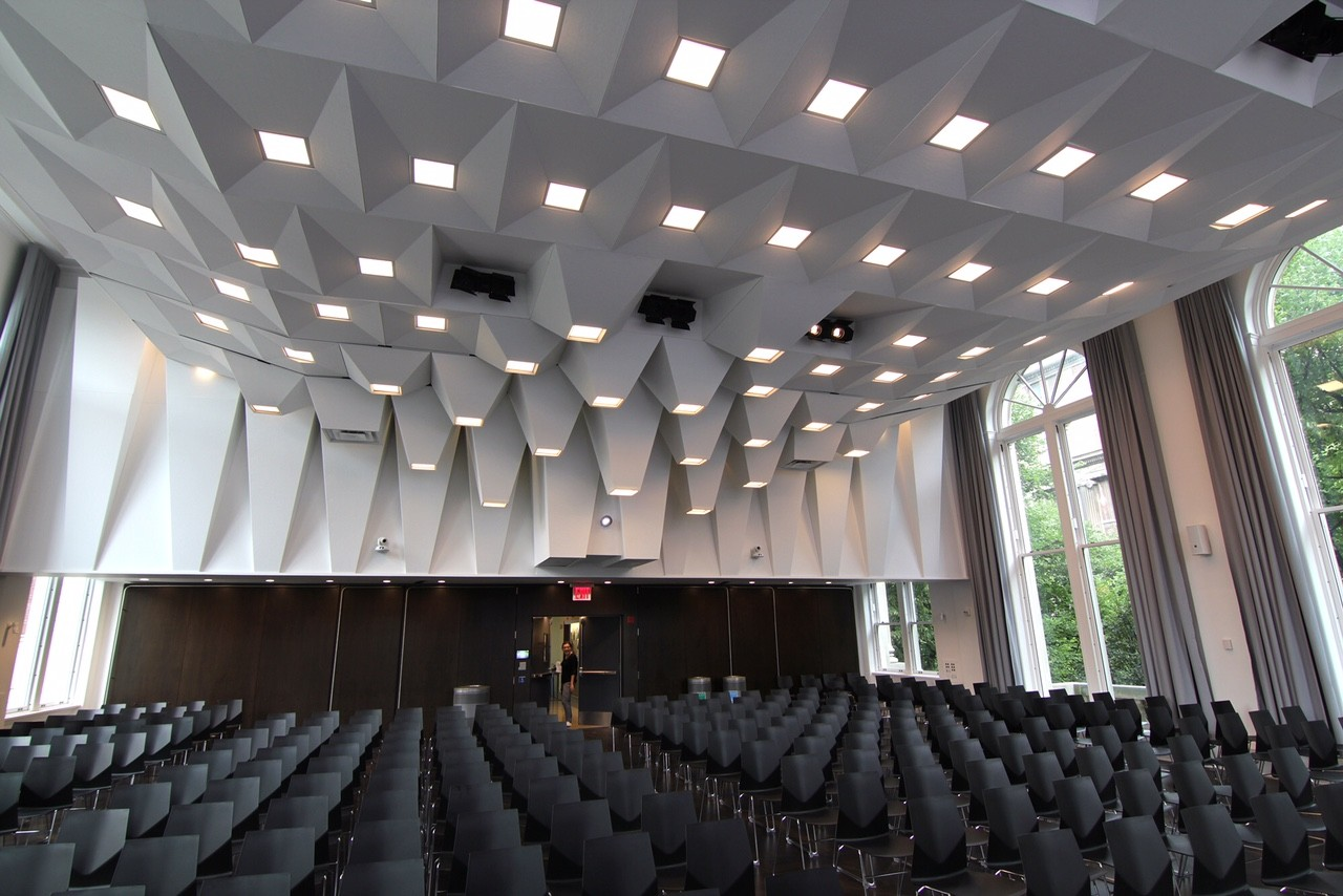 Pulitzer Hall: Upgrades to the Joseph D. Jamail Lecture Hall on the building's third floor, consisted of new, accessible doors, a new wood floor, energy-efficient LED lighting, an acoustic ceiling, and other historic restoration of the space including new, double-height arch windows.