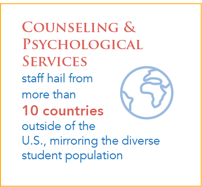 Counseling & Psychological Services staff hail from more than  10 countries outside of the U.S., mirroring the diverse student population