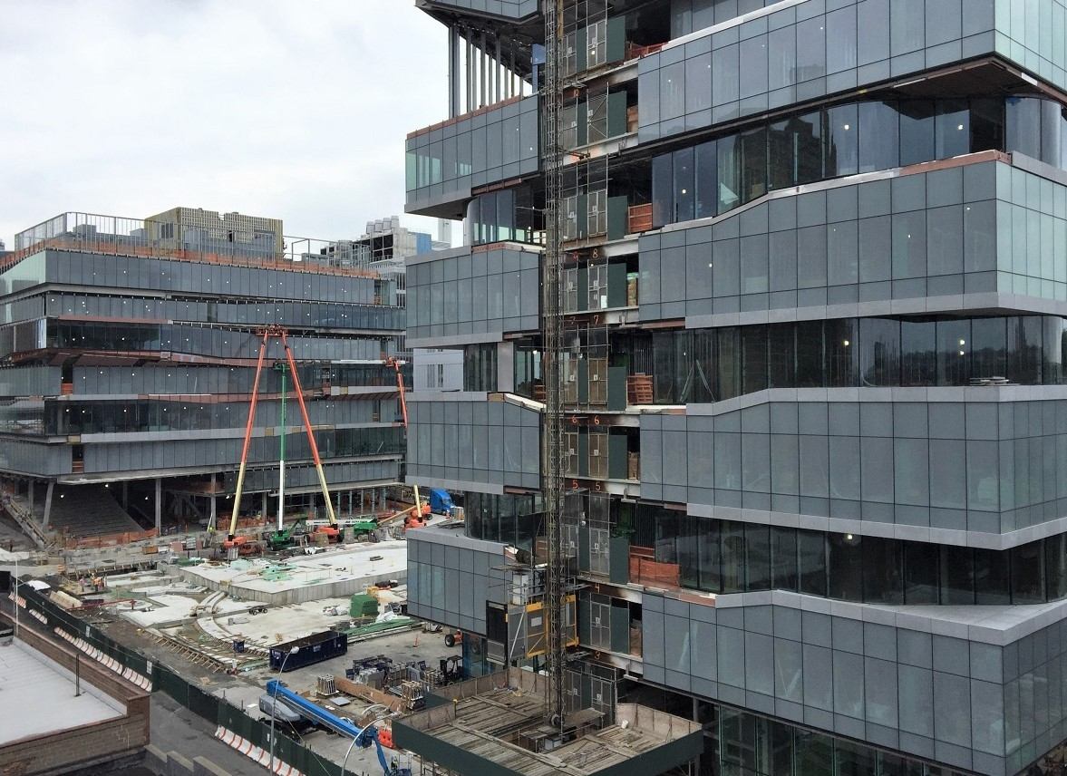 Construction on the two Columbia Business School buildings at the Manhattanville campus