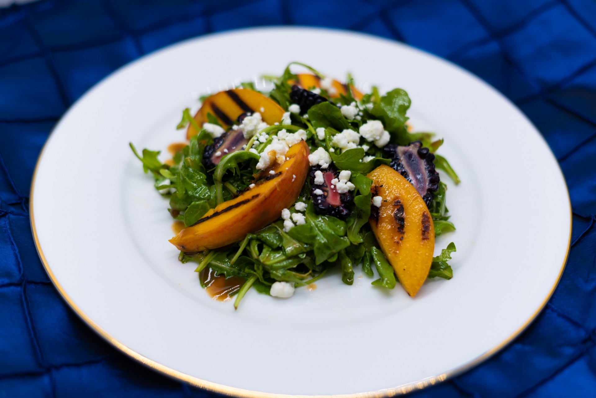 Grilled Peaches & Arugula Salad with Blackberries, Crumbled Goat Cheese, Balsamic Vinegar Dressing