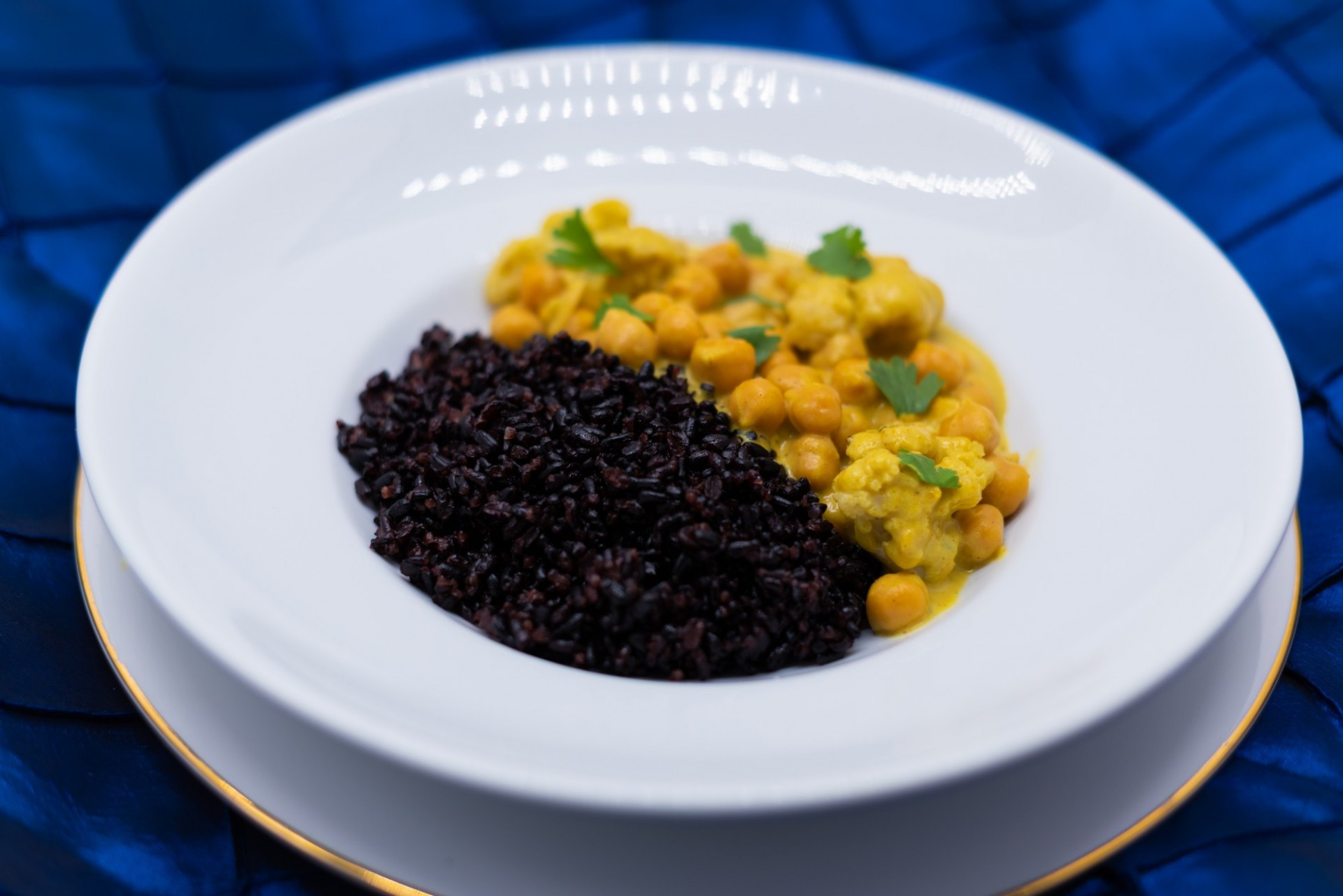 Coconut Chickpea Curry with Cauliflower and Black Rice