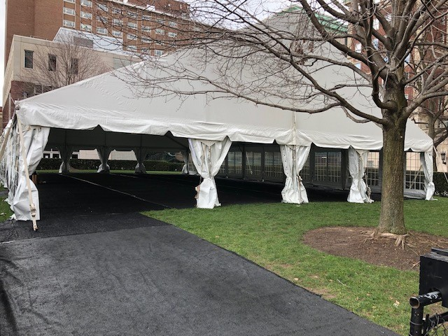 A large white tent set up on Furnald lawn