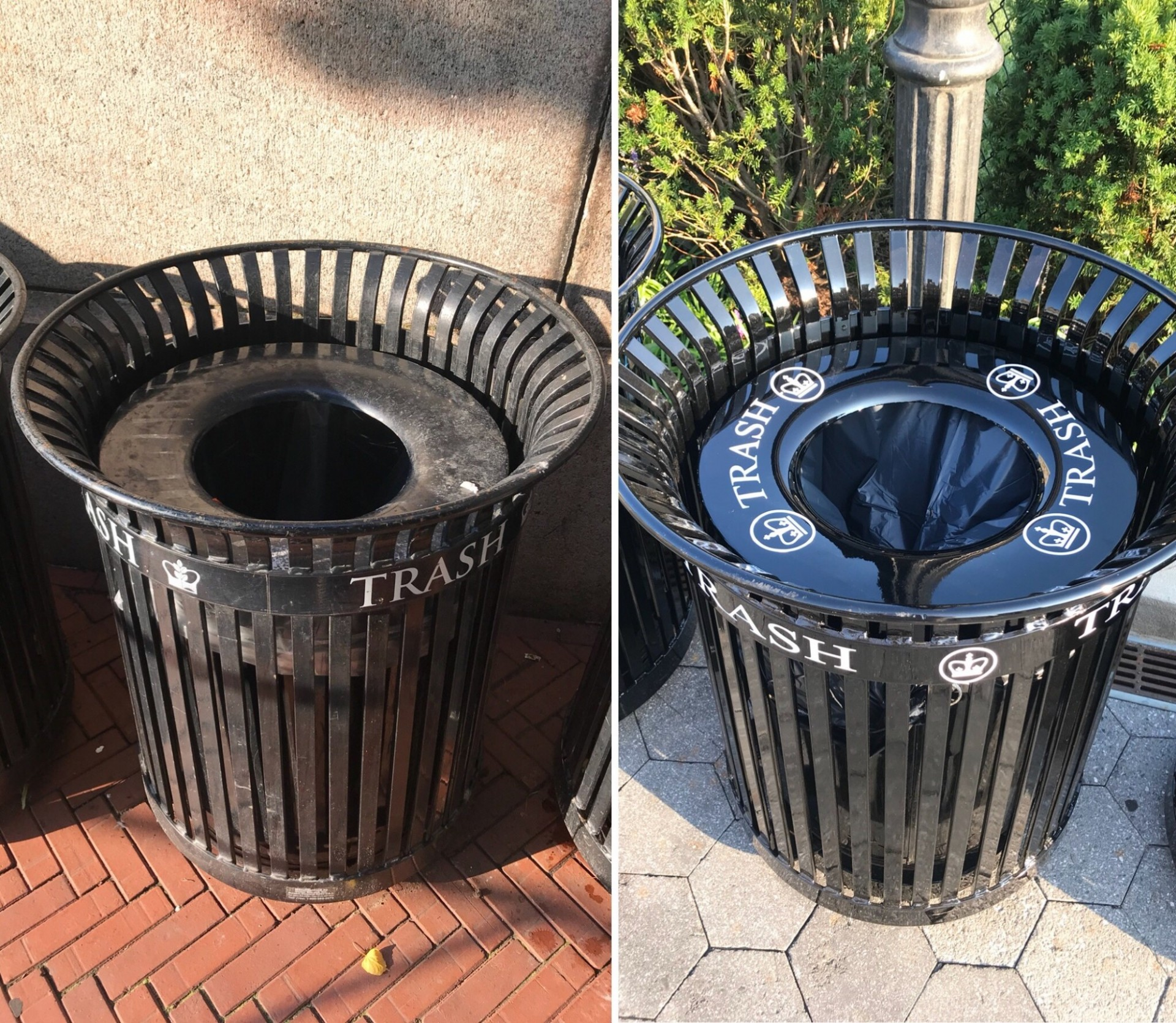 A before and after comparison of trash bins