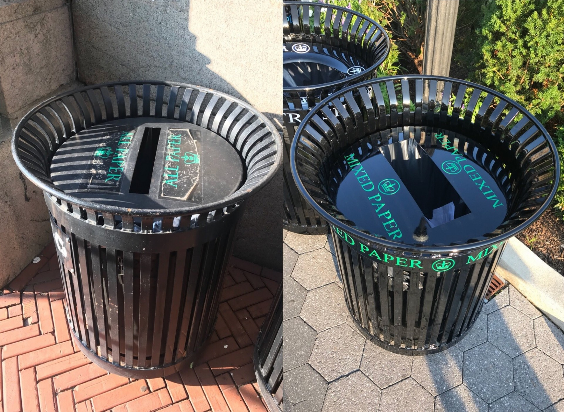 A before and after comparison of the paper receptacle