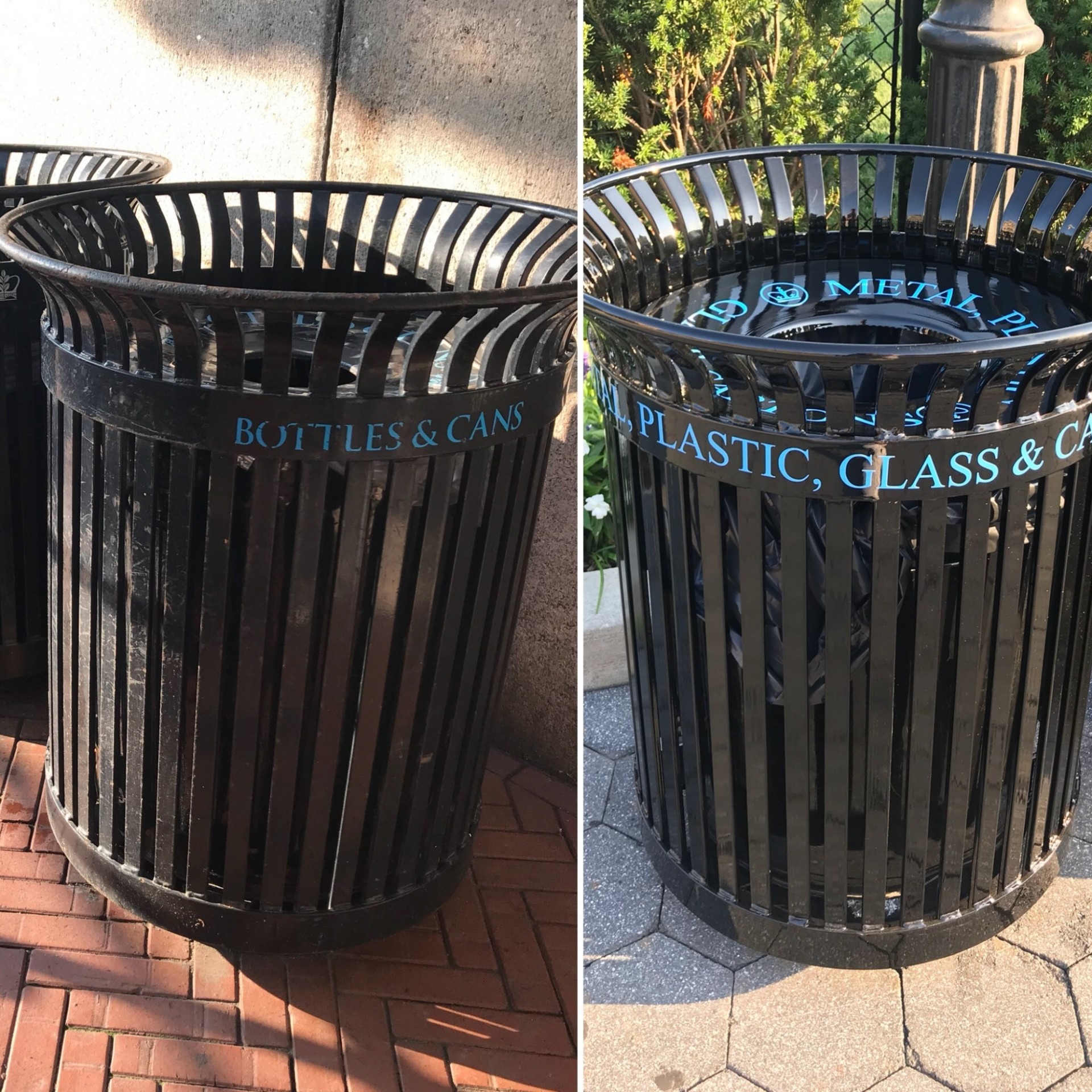 A before and after comparison of the metal/glass/plastic/cartons receptacle