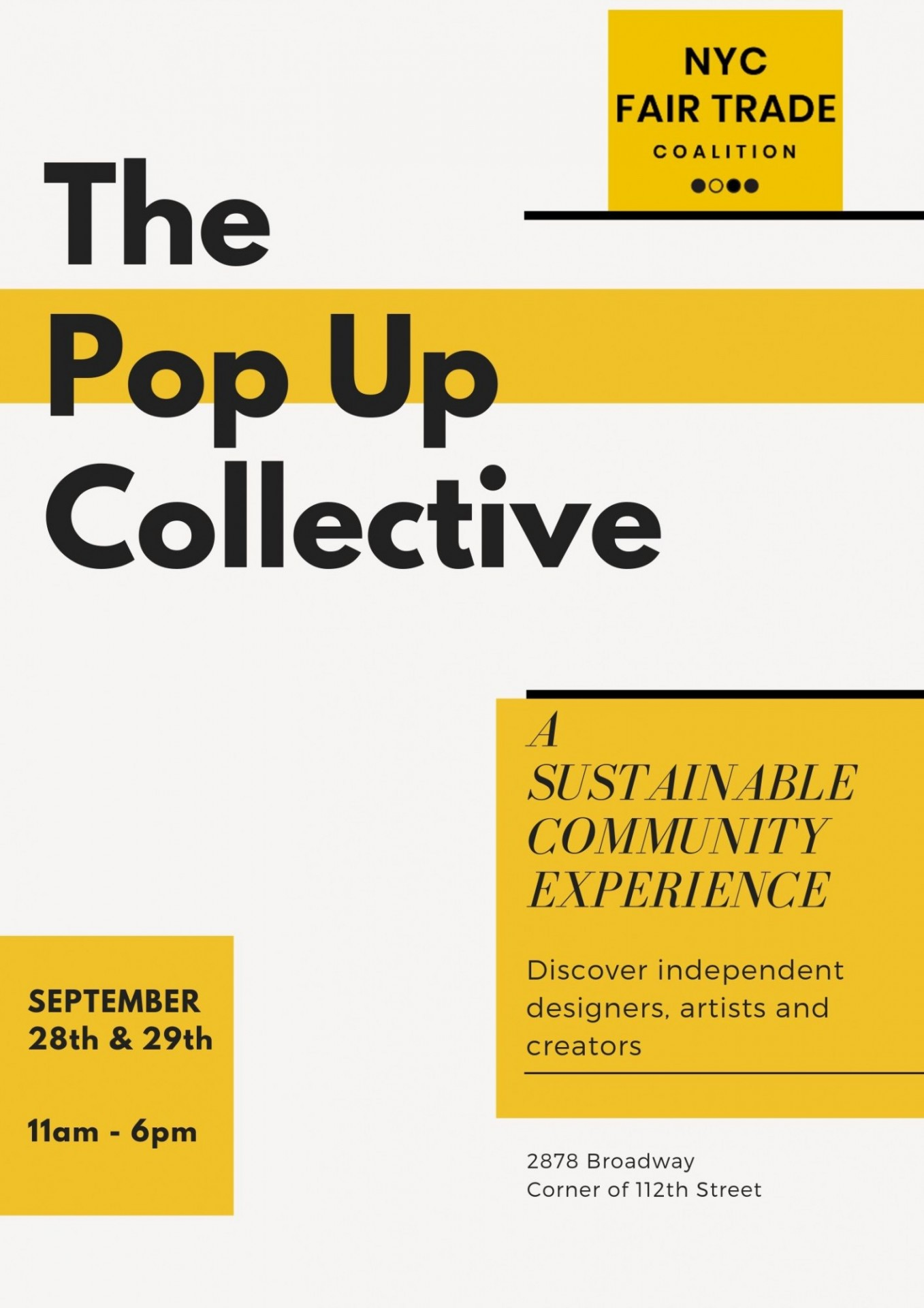 A flyer advertising the Pop-Up Collective market
