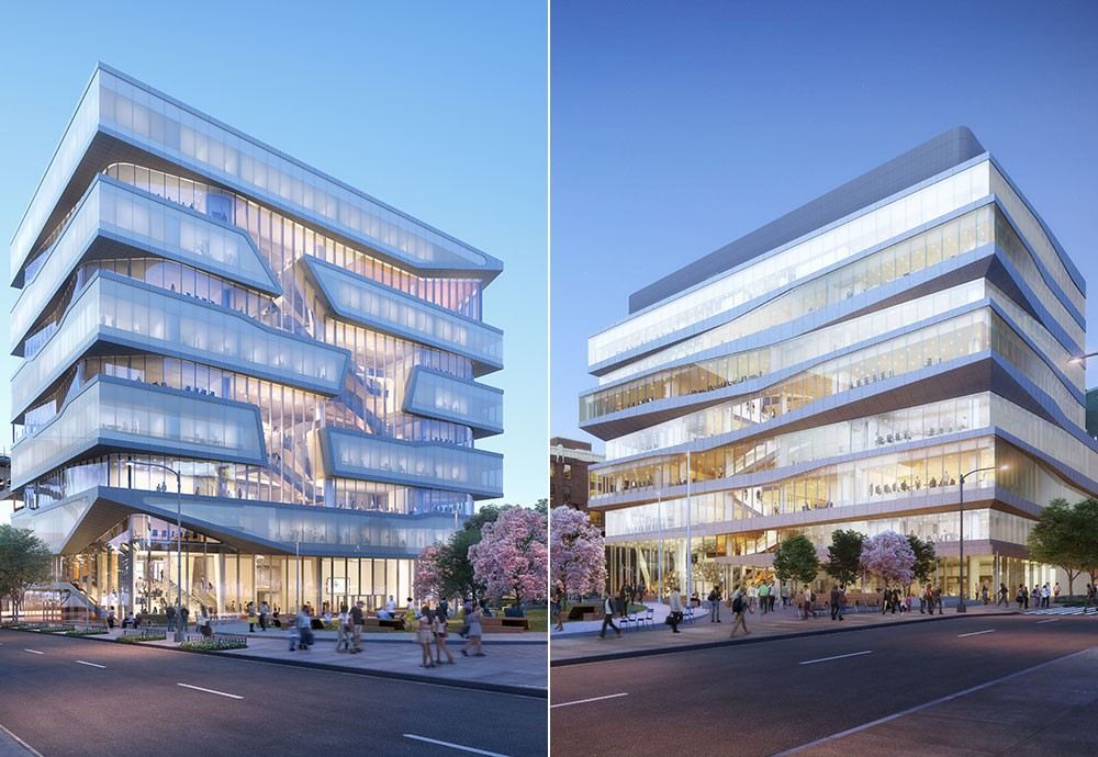 Renderings of the Ronald O. Perelman Center for Business Innovation and the Henry R. Kravis Building.