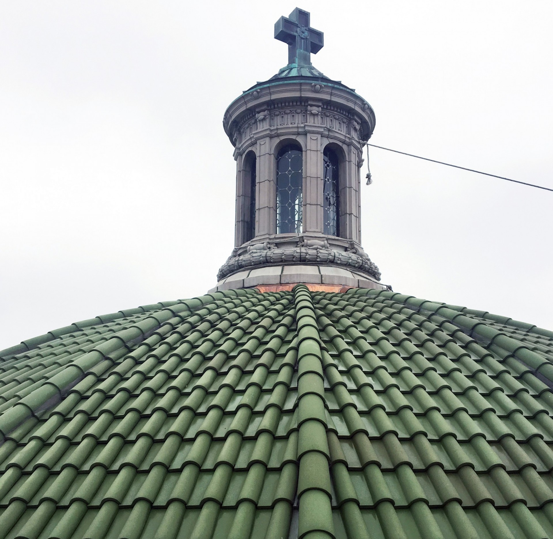 The new roof on the St. Paul's Chapel upper dome.