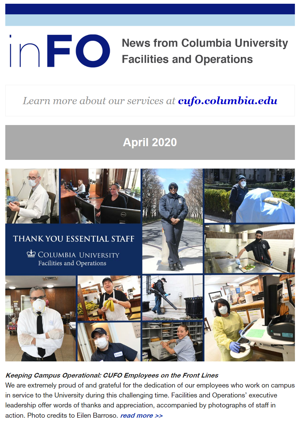 Screenshot of the April 2020 e-newsletter, showing a collage of photos of essential workers