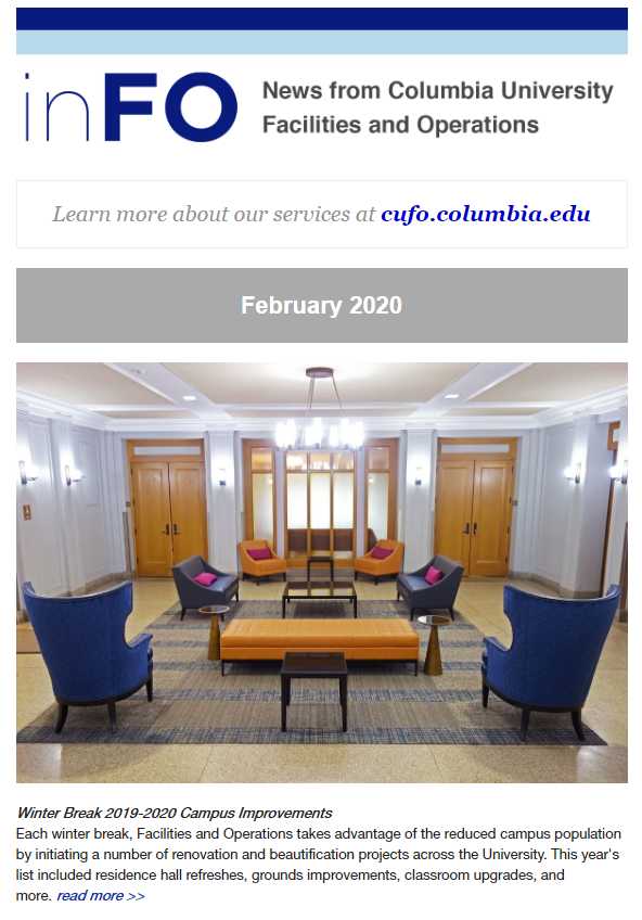 Screenshot of the February 2020 CUFO e-newsletter showing image of a recently renovated Residence Hall lounge